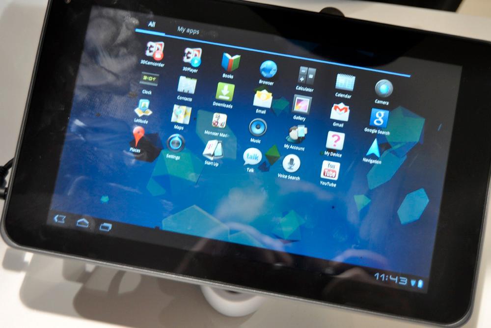 Applikasjonsmenyen er slik den skal være med Android 3.0 Honeycomb.