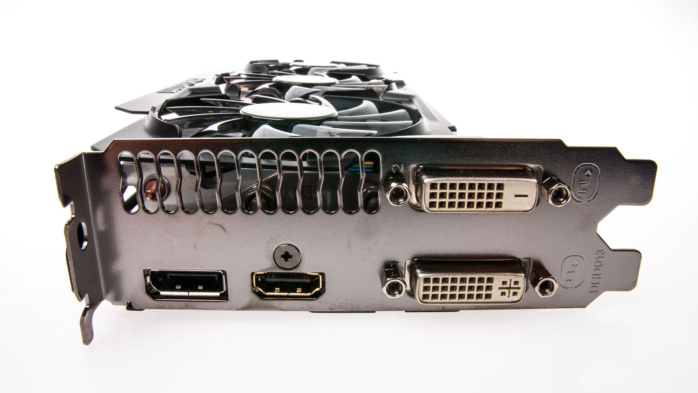 Gigabyte GeForce GTX 780 GHz Edition har de samme tilkoblingene som alle kort i sin familie.Foto: Varg Aamo, Hardware.no