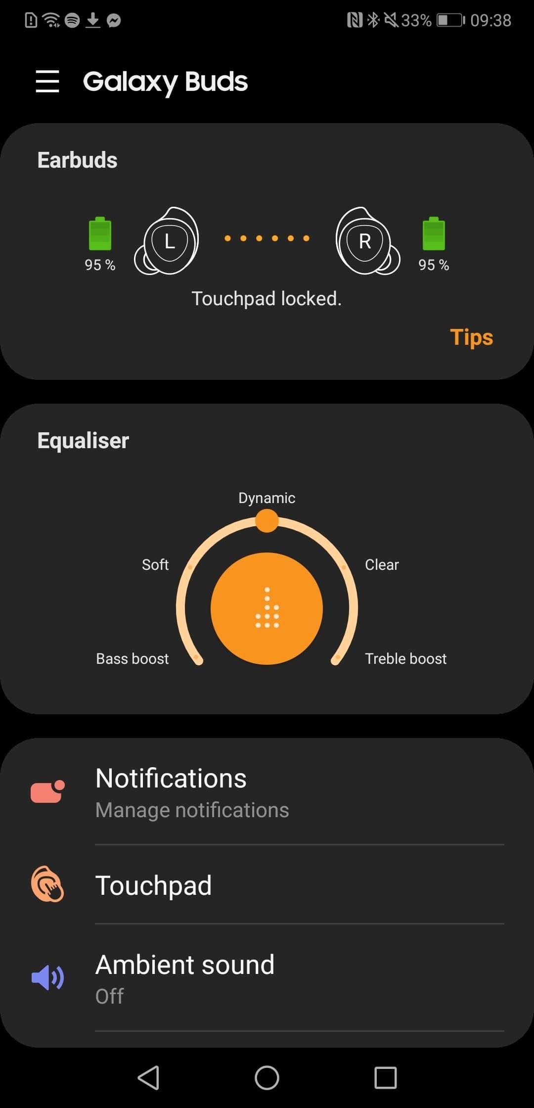 Galaxy Wear-appen er svært brukervennlig. Den har også en «Find my earbuds»-funksjon som får pluggene til å lage en liten kvitrelyd hvis de er innen rekkevidde.