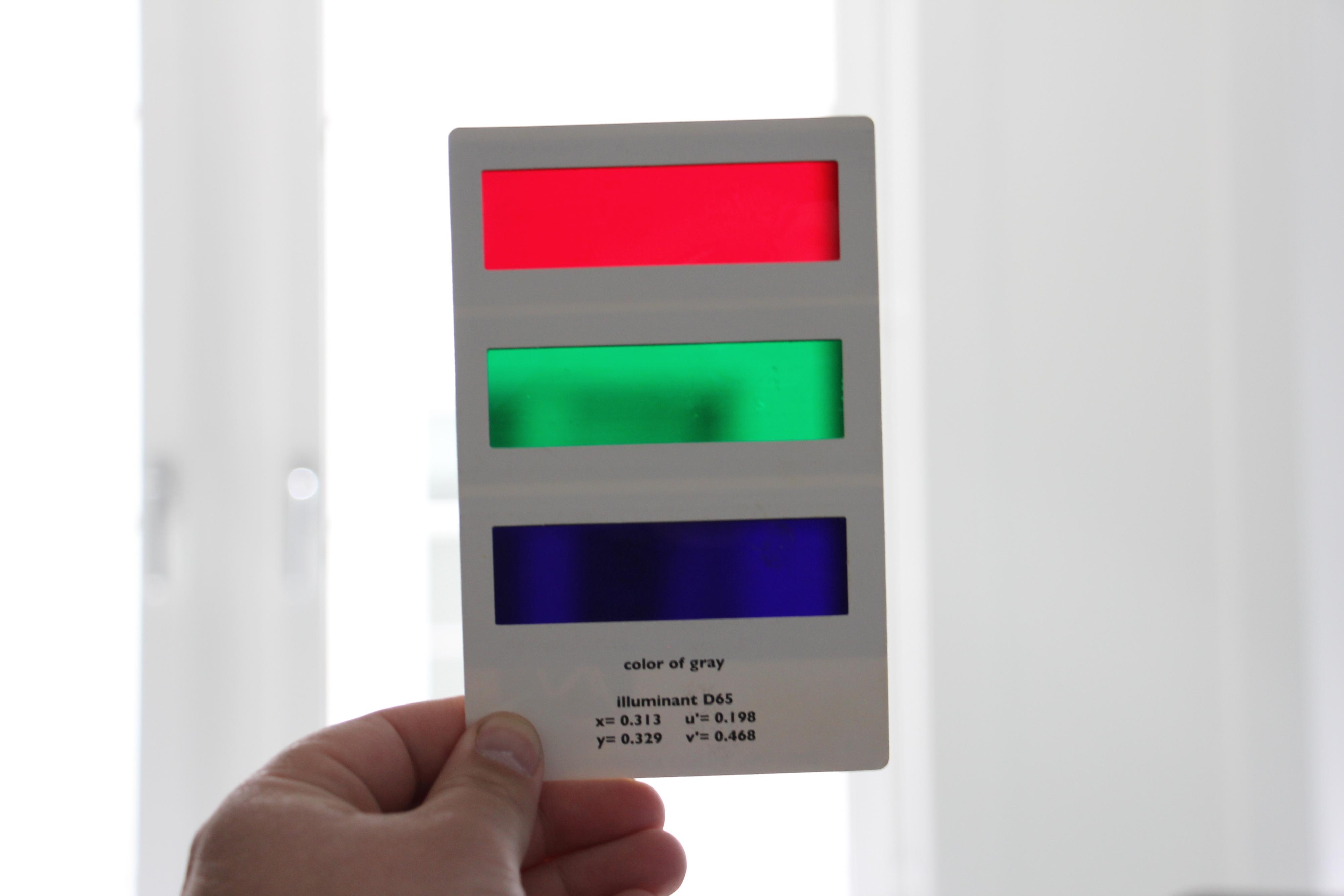 Slik ser fargefilteret ut som følger med kalibreringsplata DVE.
