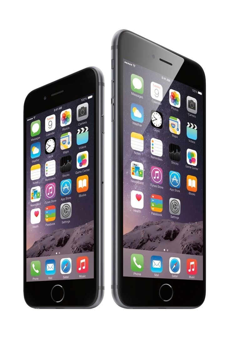 Det er bare modellen til høyre, iPhone 6 Plus, som er rammet. Foto: Apple