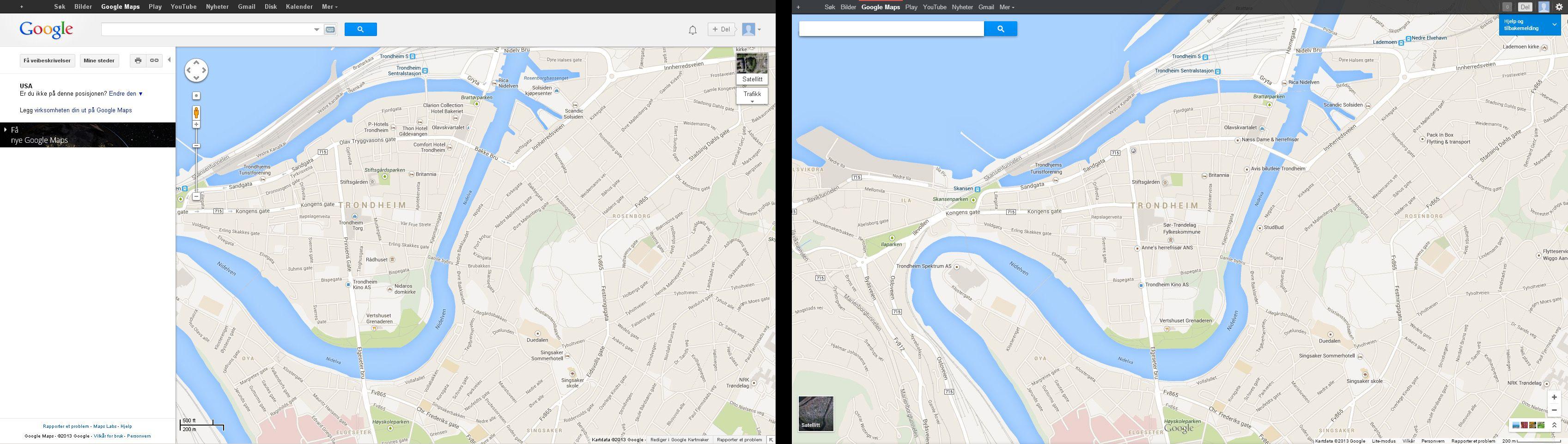 En sammenligning mellom gamle (til venstre) og nye Google Maps.Foto: Google