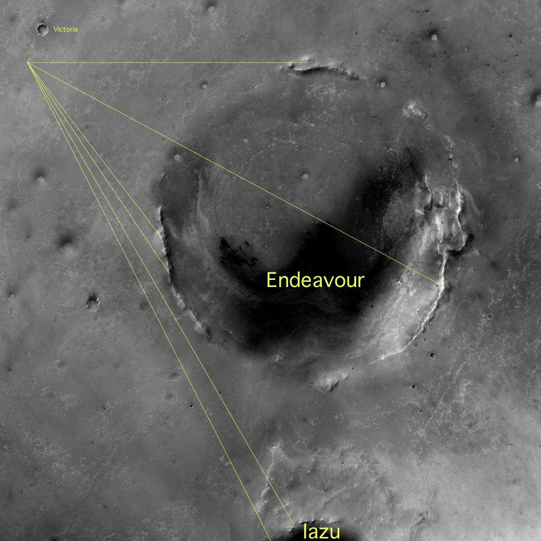Boblene er funnet vest i krateret Endeavour, i et område som blir kalt Kirkwood.Foto: NASA
