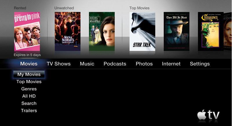 Skjermbilde fra hovedmenyen på Apple TV 3.0