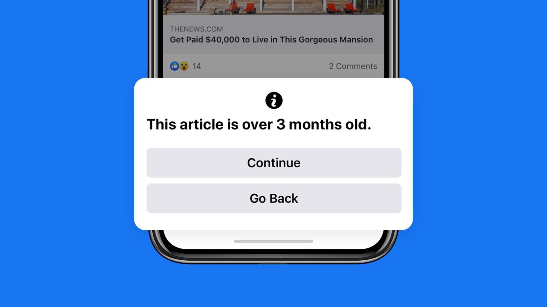 Facebook vil nå advare deg om du deler en sak eldre enn tre måneder