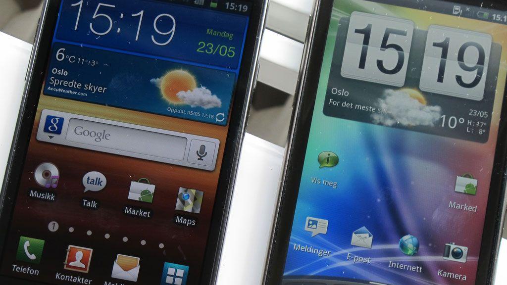 Galaxy S II (til venstre) har nok litt bedre skjerm enn HTC Sensation, selv om oppløsningen er lavere.