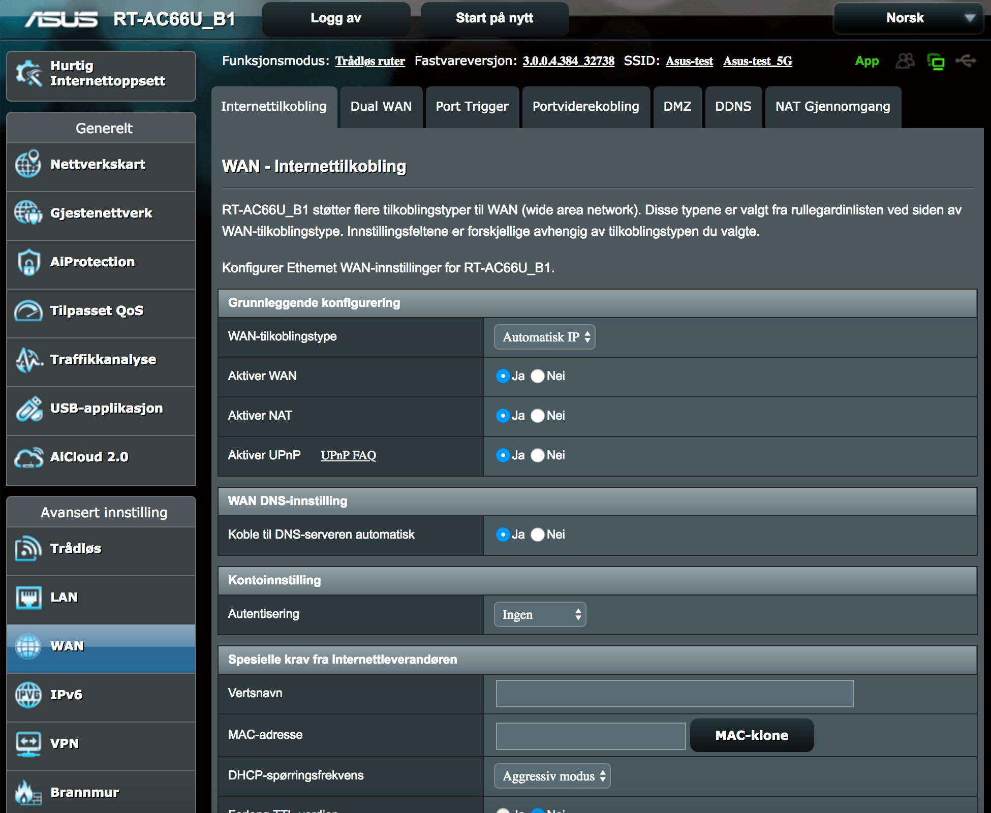 Asus webportal.