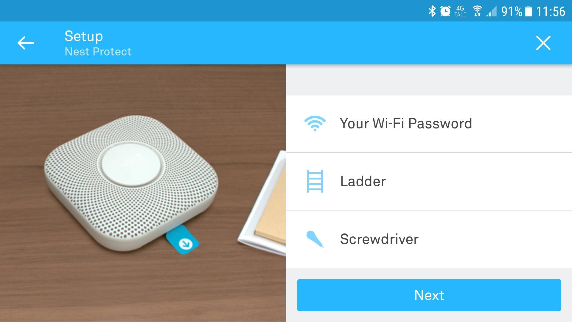Nests app hjelper også til med installasjonen.