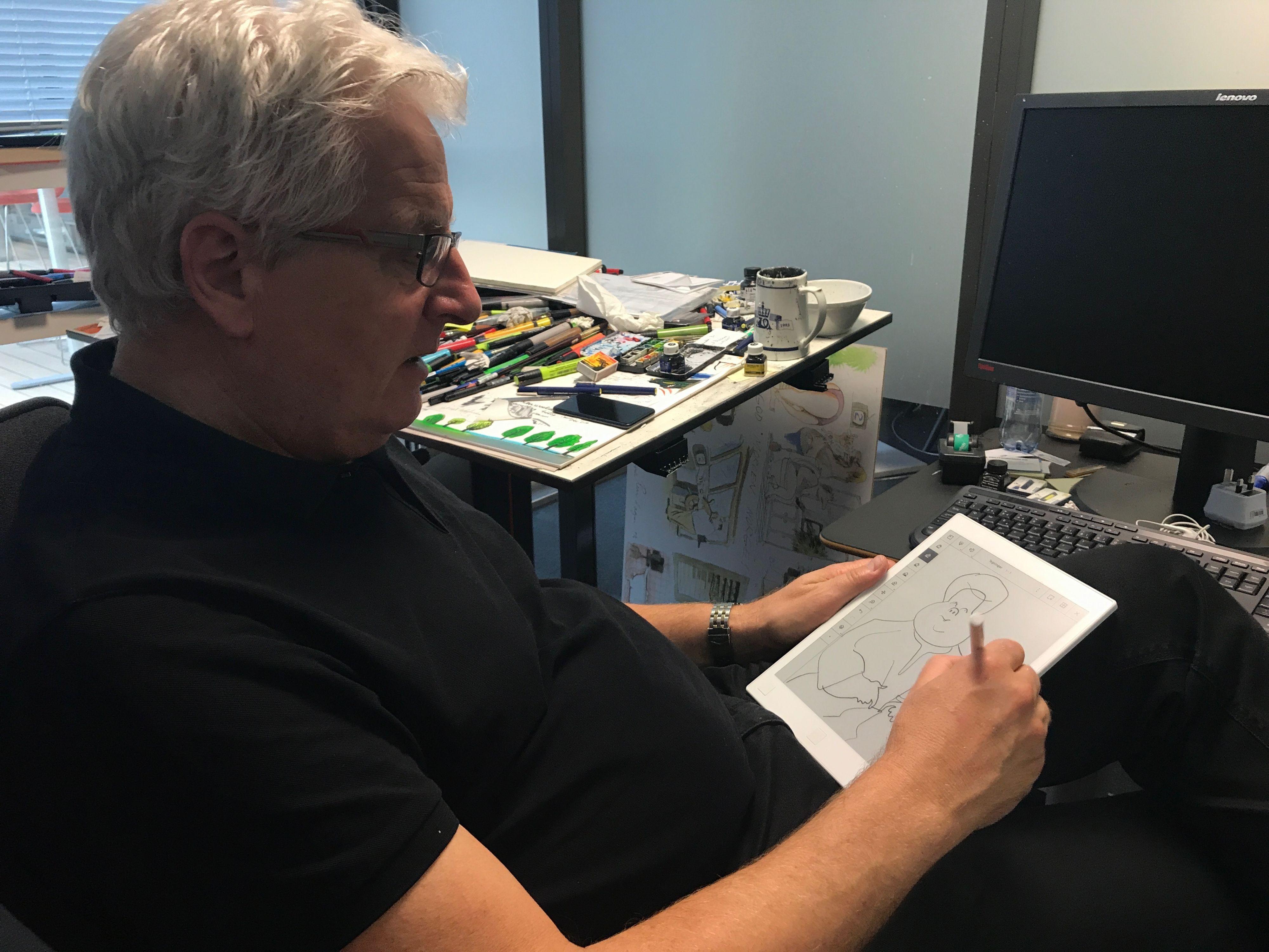 VG-tegner Roar Hagen mente at reMarkable ikke kunne nå opp til iPad Pro-en hans, men det var hovedsaklig på grunn av programvaren.