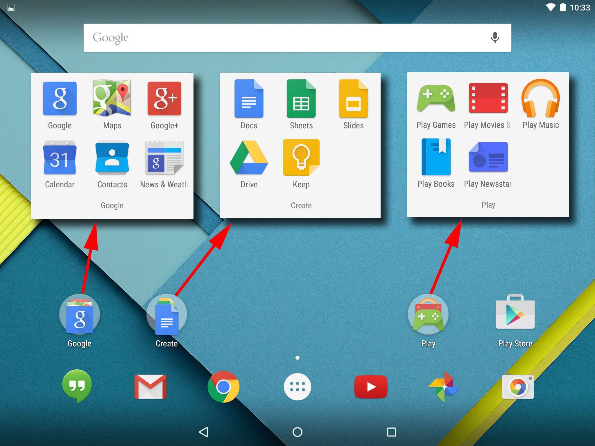 Google-funksjonene er samlet i tre grupper. Her har vi jukset litt så du kan se alle tre samtidig.Illustrasjon: Espen Irwing Swang, Tek.no