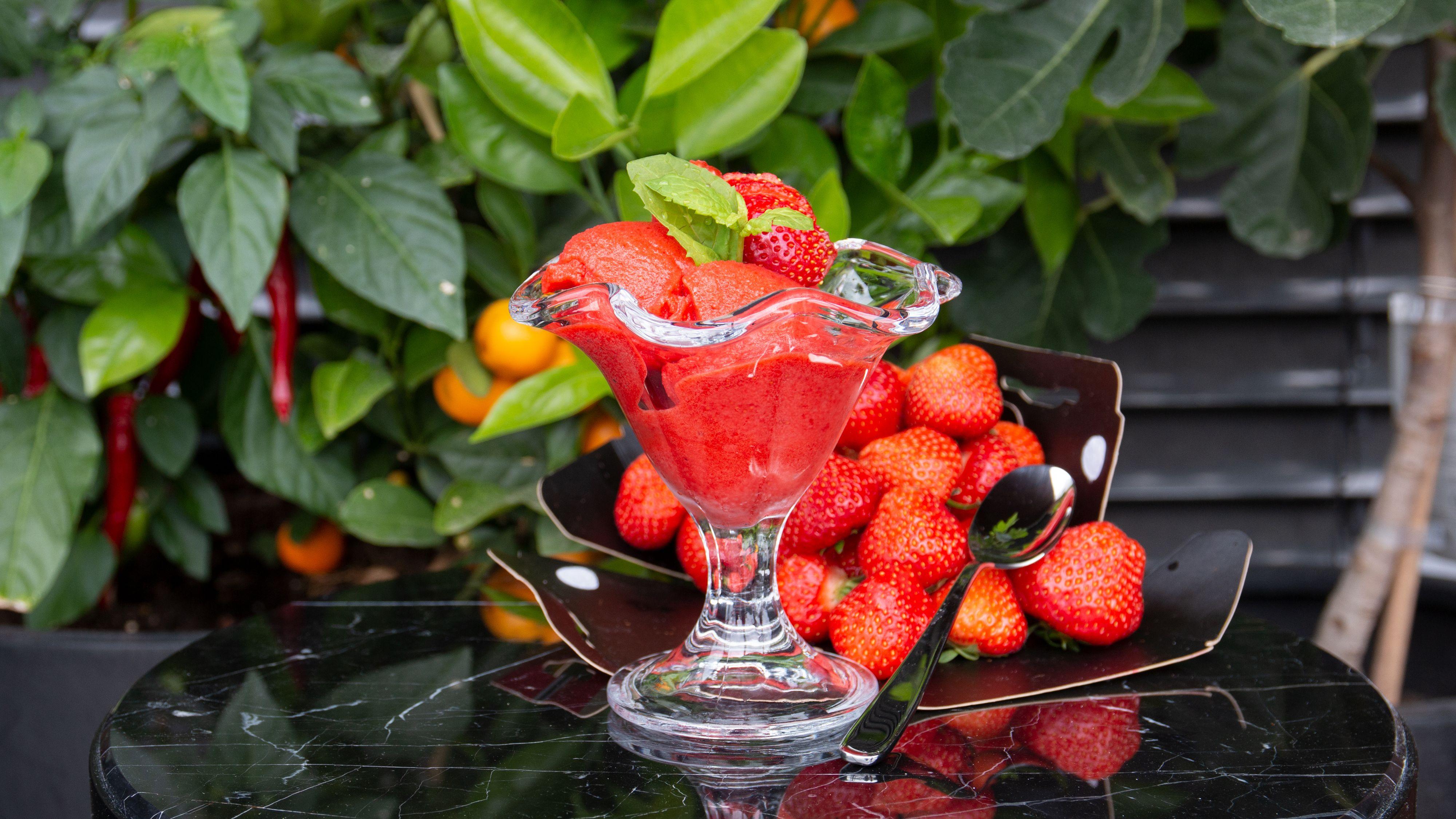 Slik kan en jordbærsorbé fra Wilfa «Vanilje» se ut.