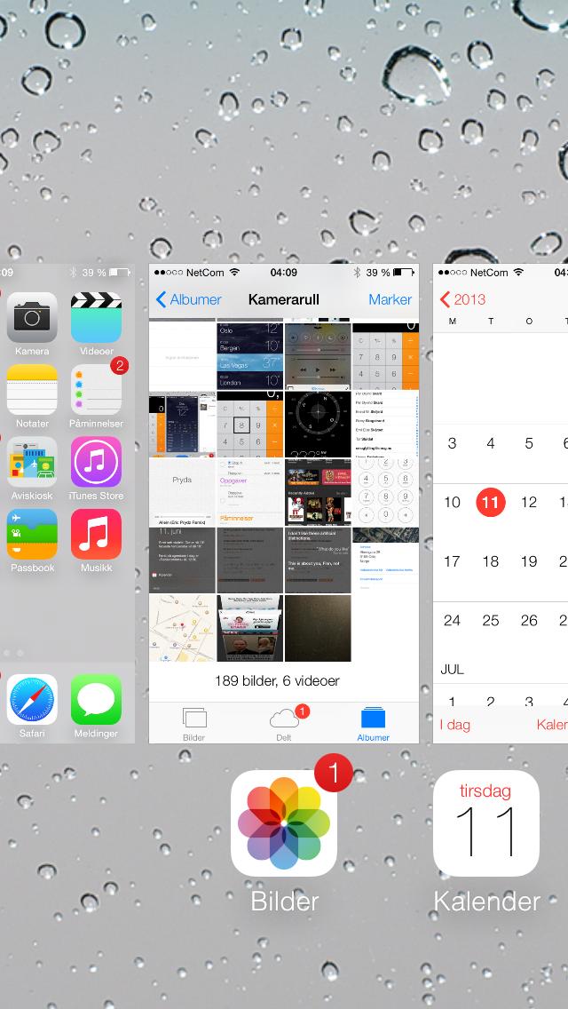 Når du kjører flere apper samtidig er det nå langt enklere å veksle mellom dem. Du ser nemlig ikke bare ikonene men også innholdet i appene når du veksler.Foto: Finn Jarle Kvalheim, Amobil.no