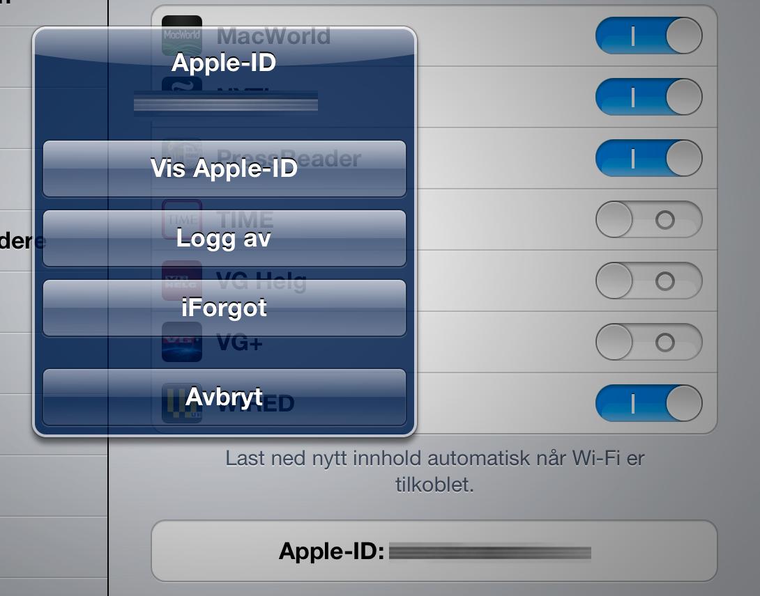 Fra Innstillinger kan du veksle mellom ulike kontoer. Du kan ha apper fra opptil fem kontoer på én enhet.
