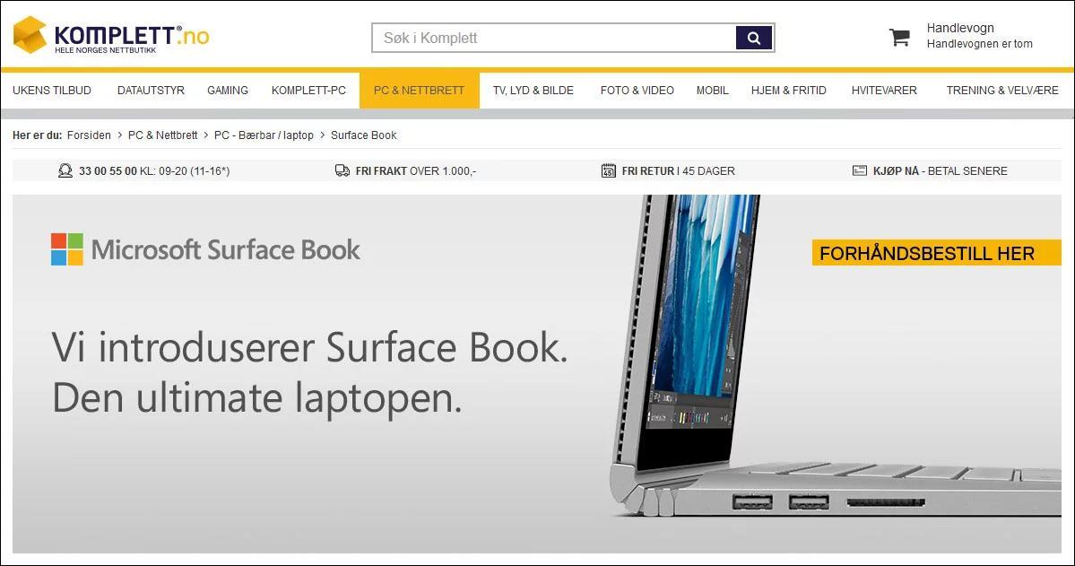 Her er annonsen IT-avisen snappet opp hos Komplett.no i helgen. Nettbutikken har siden fjernet den.