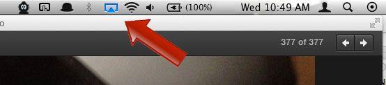 Når Airplay er aktiv vil det ikonet lyse blått.