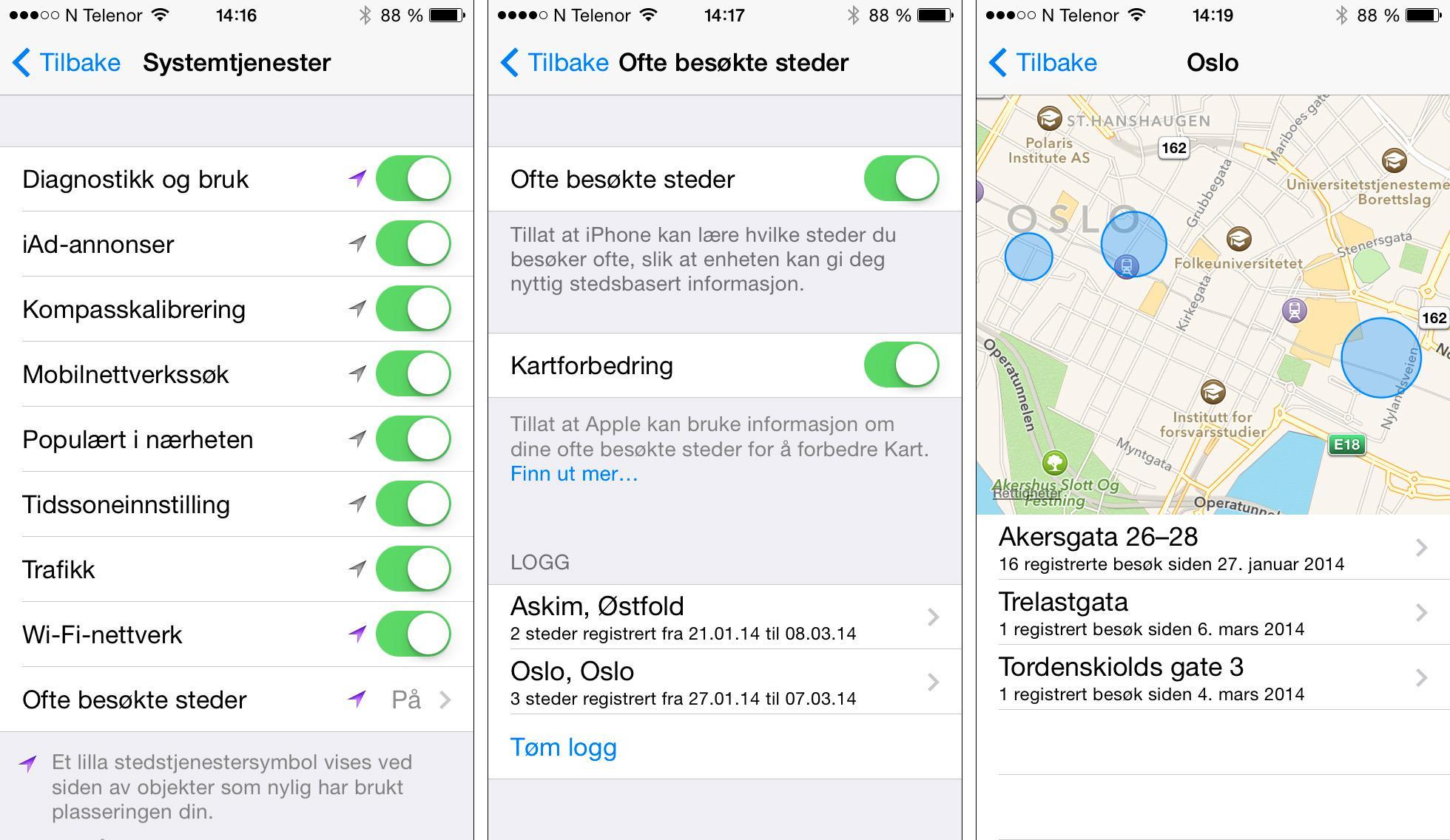 iOS 7 finner automatisk ut hvilke steder du besøker ofte, og plotter dette inn på et kart.