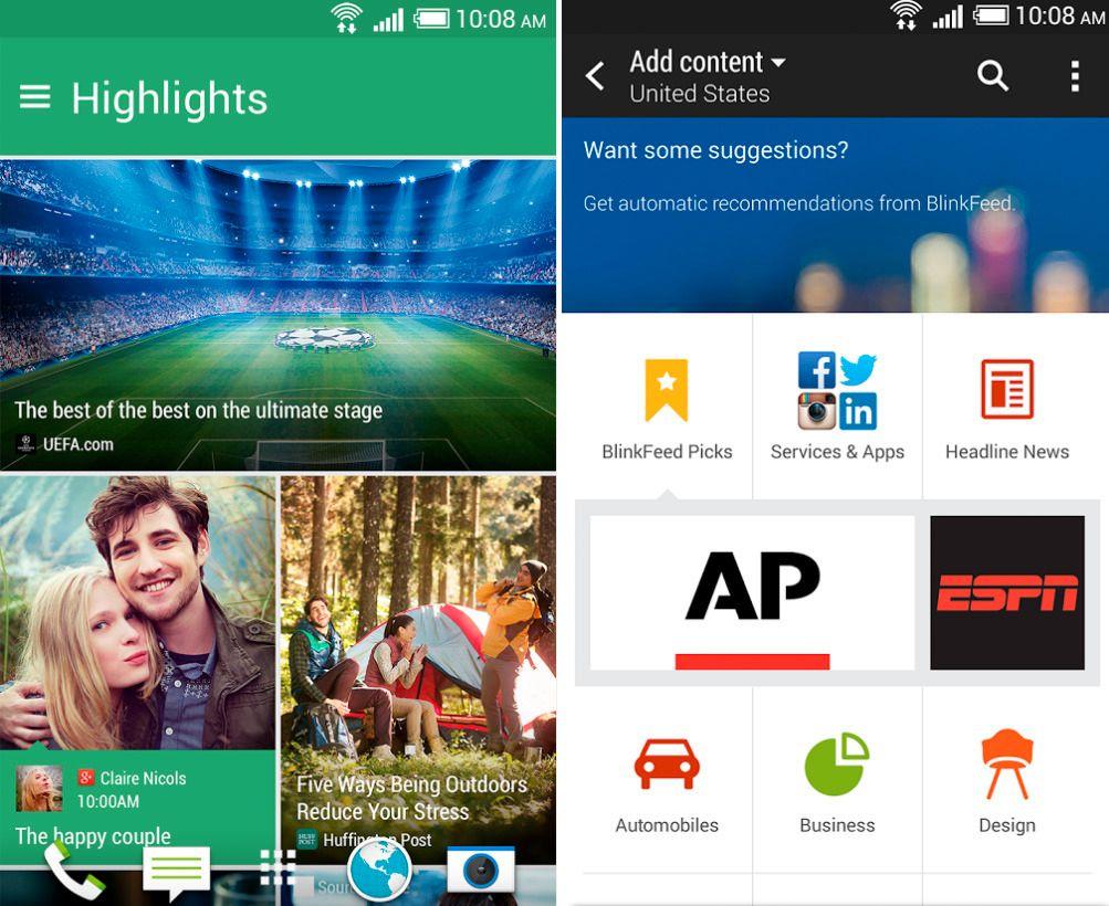 Nye Blinkfeed ligger nå også som nedlasting på Google Play, men foreløpig kun for HTC One M8. Foto: Google Play