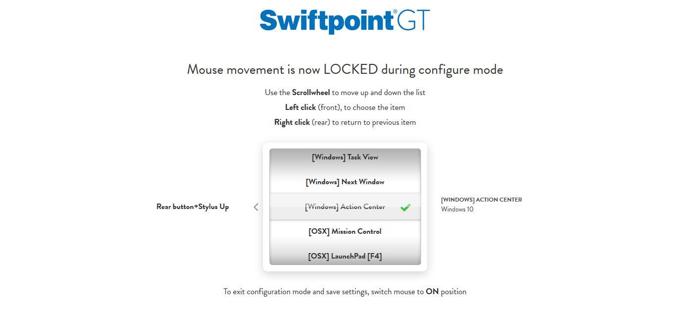Swiftpoint GT konfigurerer du direkte, uten å måtte installere ekstra programvare.