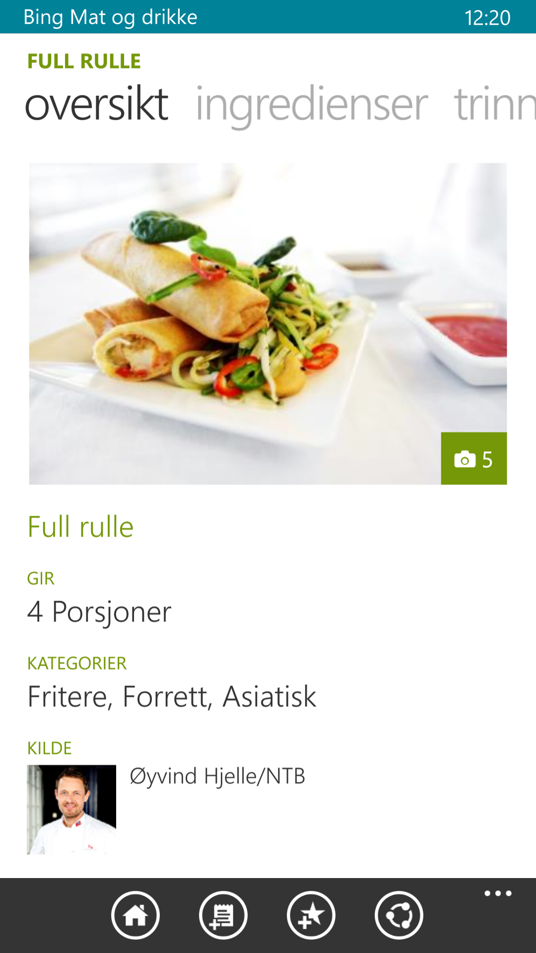 Bing Mat og drikke kan gi deg oppskrifter på mat og drinker. Den fungerer også som handleliste.Foto: Finn Jarle Kvalheim, Amobil.no