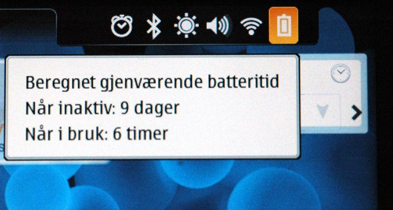 Du får opp nøyaktig informasjon om gjenståenmde batterilevetid.
