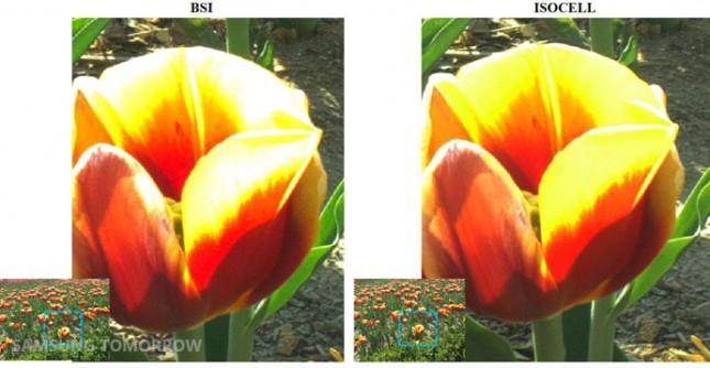 Her er det zoomet inn på en detalj i bildet. Bildet tatt med Isocell-teknologi (til høyre) er noe skarpere, og mindre utbrent enn bildet tatt med BSI-brikken.Foto: Samsung Tomorrow