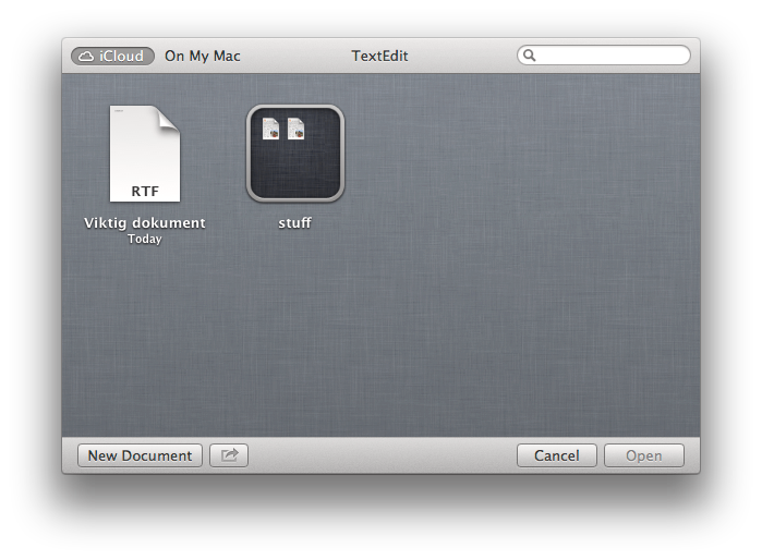 Øverst i venstre hjørne kan du velge om du vil åpne opp dokumenter fra iCloud eller datamaskinen.