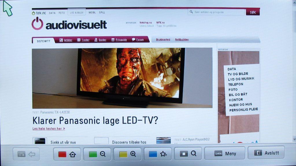 Det er en nettleser på LW550W. Den støtter dog ikke flash.