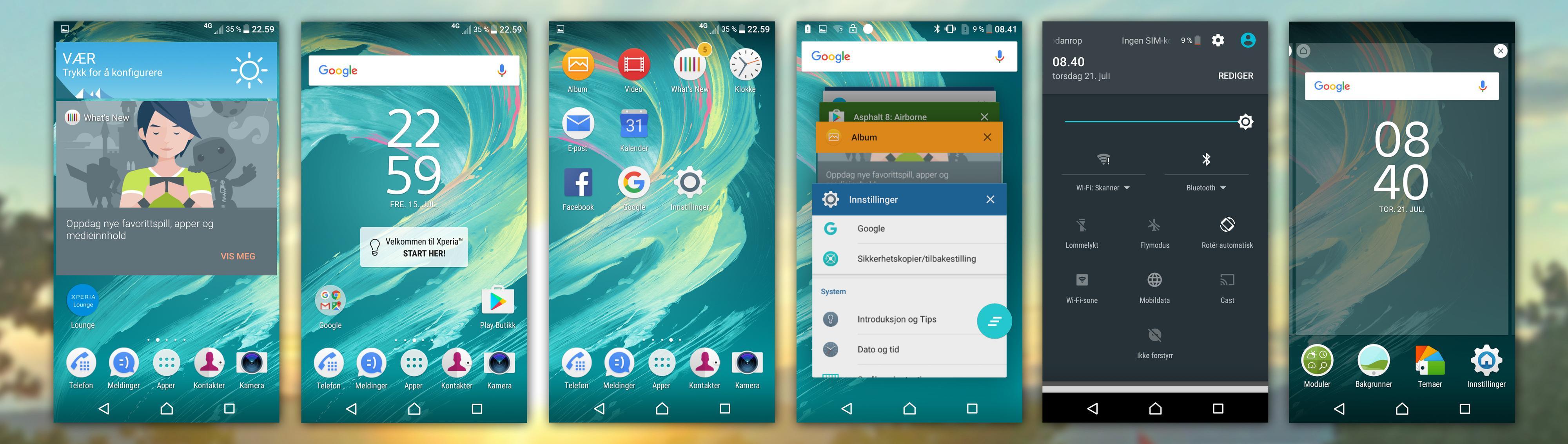 Xperia E5 leverer nesten ren Android. Sonys egne tilpasninger er få, og mest av alt visuelle.