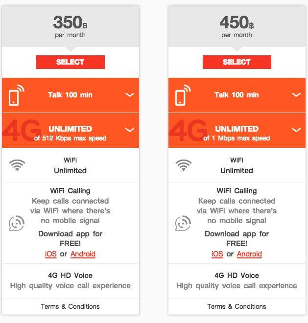 Thailand: Fri data med lav fart for under hundrelappen i måneden. Her fra TrueMoveH.