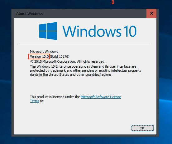 Her kan du finne ut hvilken Windows-versjon du allerede har. Om tallet i den røde boksen er lavere enn 1511, som her, har du en oppdatering til gode fra Microsoft.