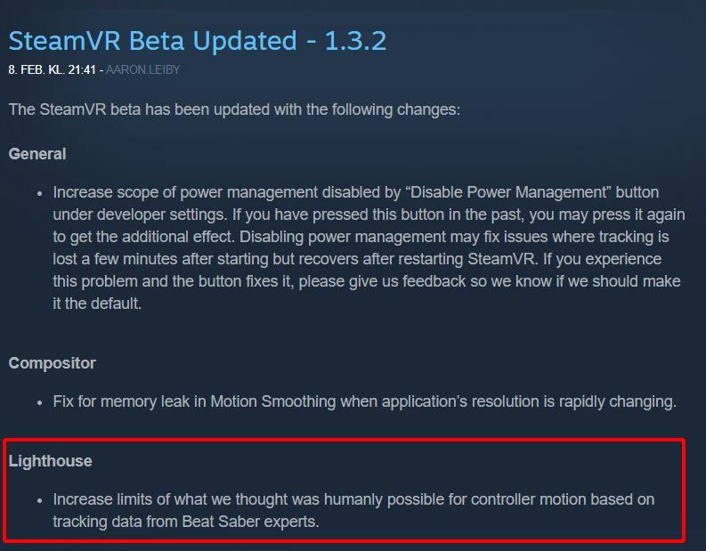 Dette punktet i oppdateringsloggen til SteamVR fikk enkelte til å undre.