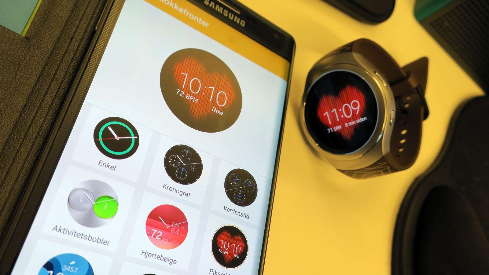I Gear-appen på mobilen kan du velge utseende, bestemme hvilke apper som skal sende alarmer til klokken, installere nye apper, flytte musikk og bilder til klokken og mye mer. Foto: Espen Irwing Swang, Tek.no