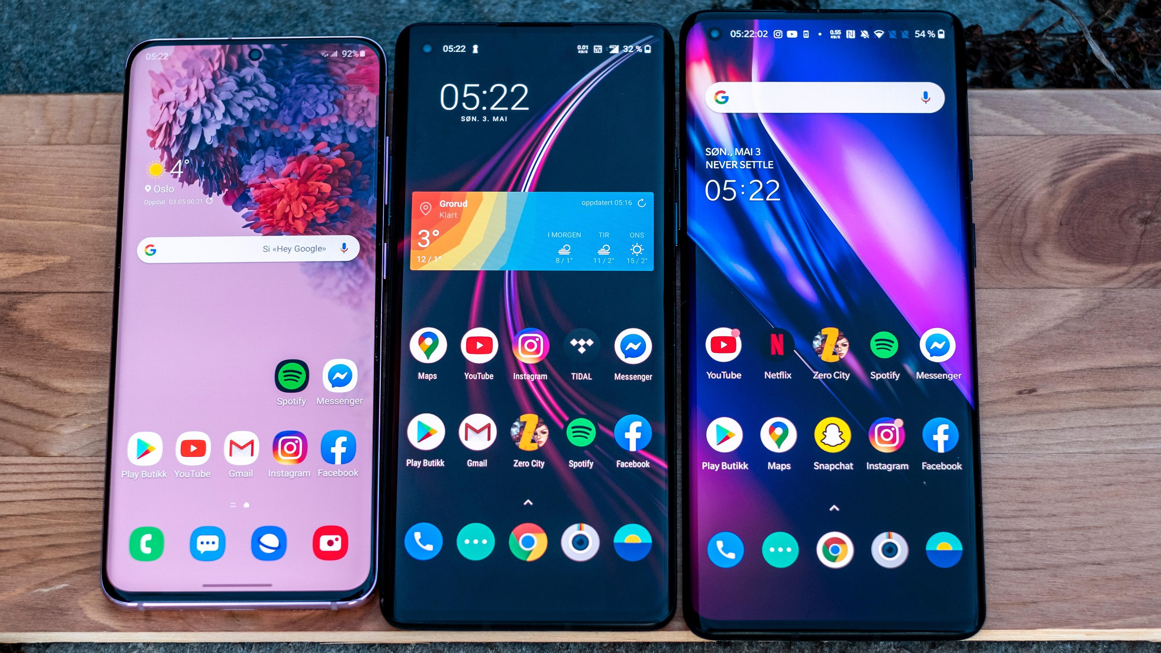 Fra venstre: Samsung Galaxy S20, OnePlus 8, OnePlus 8 Pro.