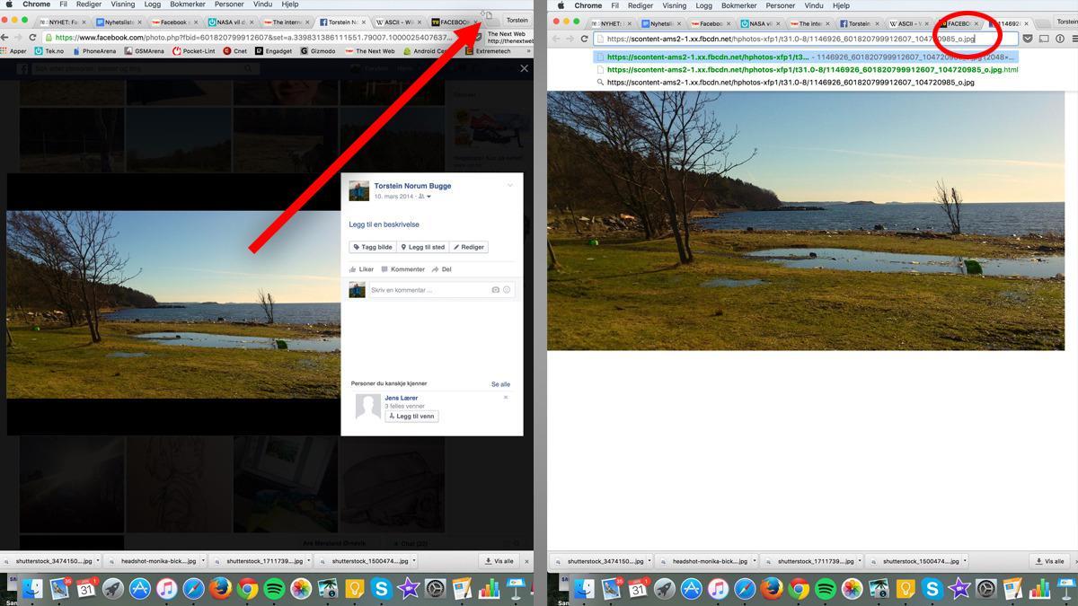 For å bruke funksjonen må du først dra et bilde som ligger åpent ute på tidslinjen din ut som en egen fane, og deretter skrive inn «.html» bak URL-en. Og – vips! – la magien skje!