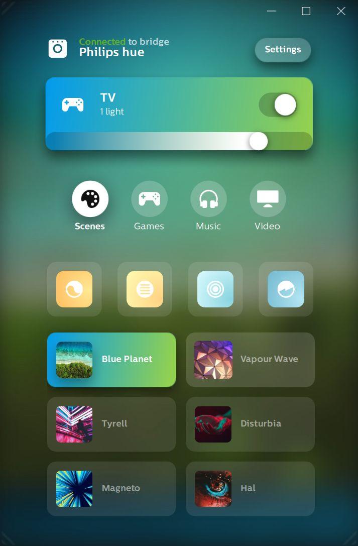 PC-appen er mer avansert enn mobilappen, og gir oss blant annet muligheten til å sette noen få «Scener» uten å måtte bytte til den vanlige Hue-appen.