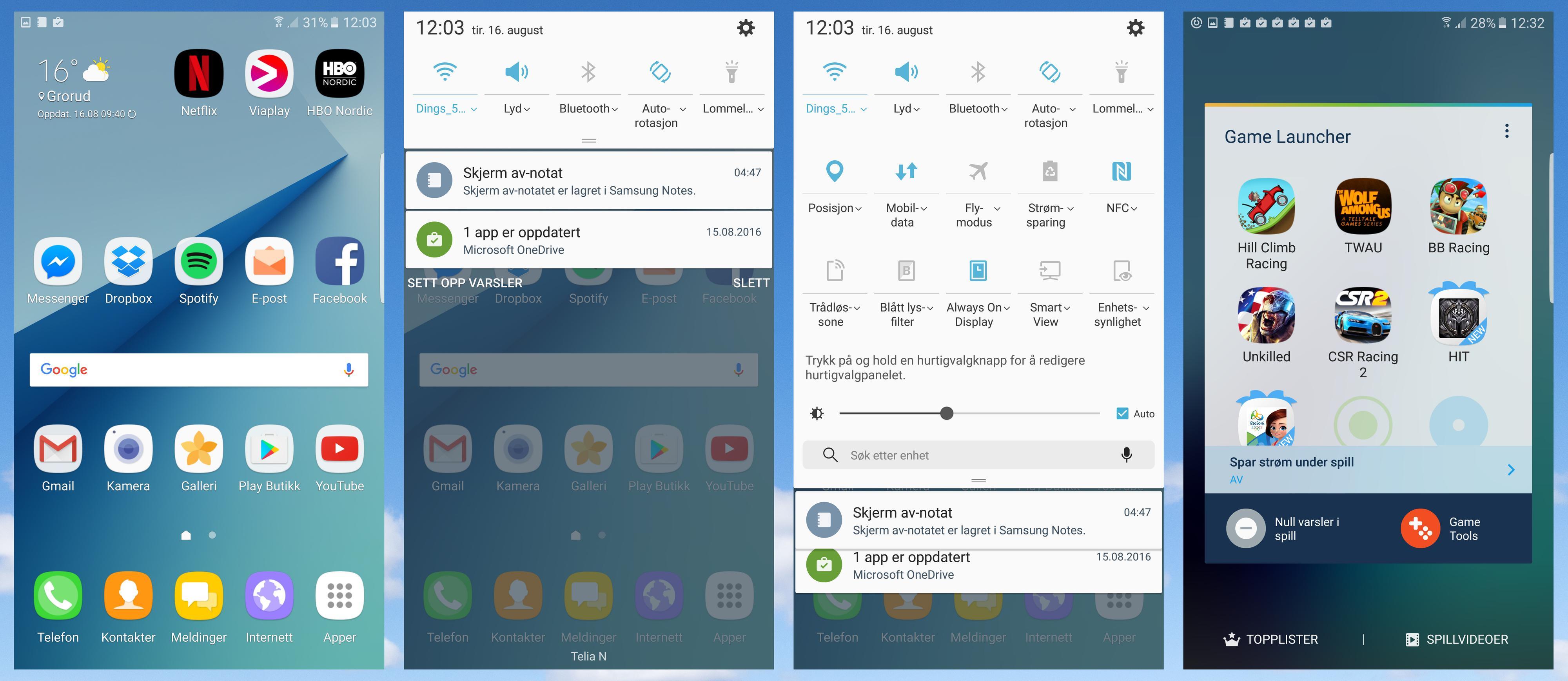 Touch Wiz har blitt delvis fornyet i denne omgangen. Det merkes på nedtrekksmenyen og innstillingsmenyen. Samtidig er det mye som er med oss videre fra Galaxy S7, så som spillsenteret som kan skru av varslinger når du prøver å slå toppskåren din.