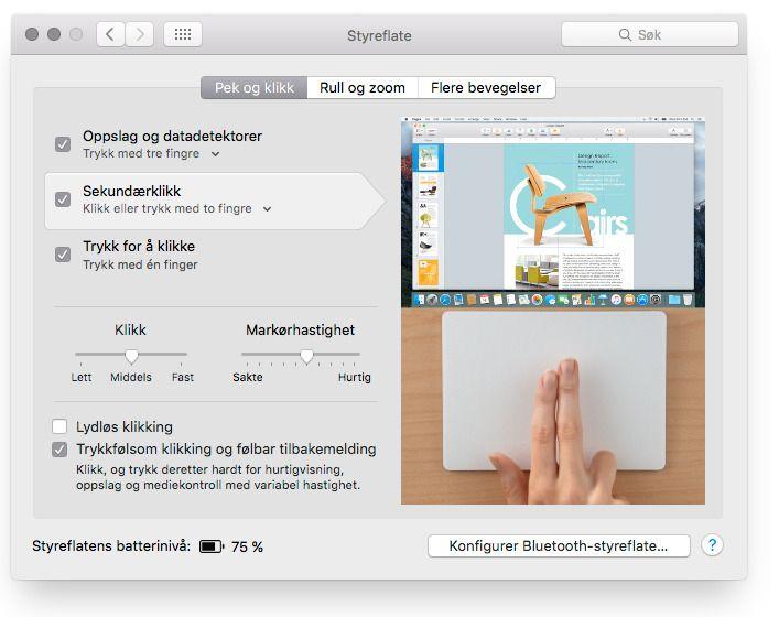 I systeminnstillingene i OS X kan du sette opp hvordan pekeplaten skal oppføre seg.