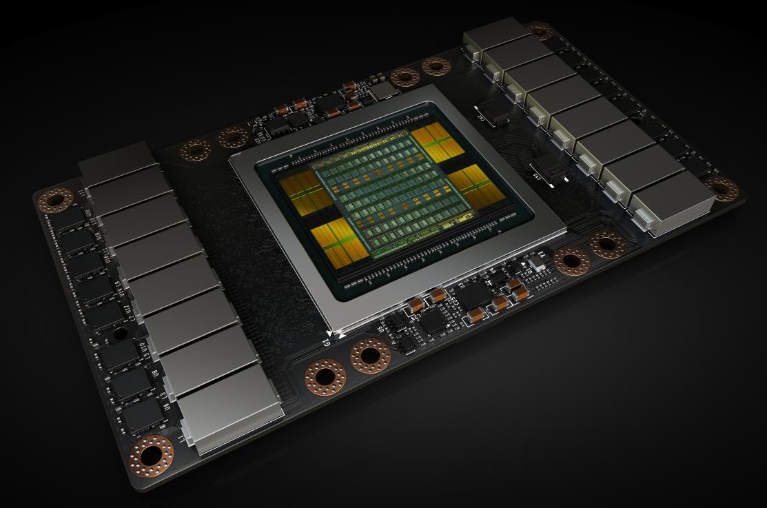 En render av den nye Volta-baserte GV100 GPU-en som sitter i utregningskortet Tesla V100.