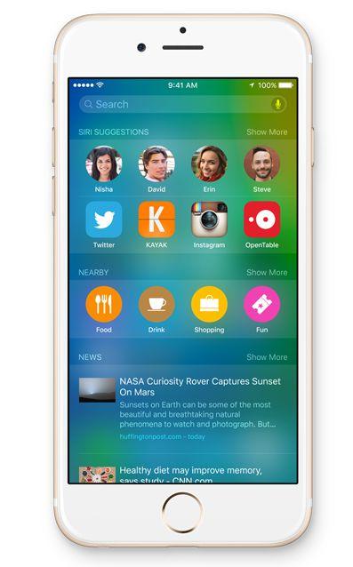 Telefonen/nettbrettet viser flere kontekstbaserte søketreff. (Foto: Apple)