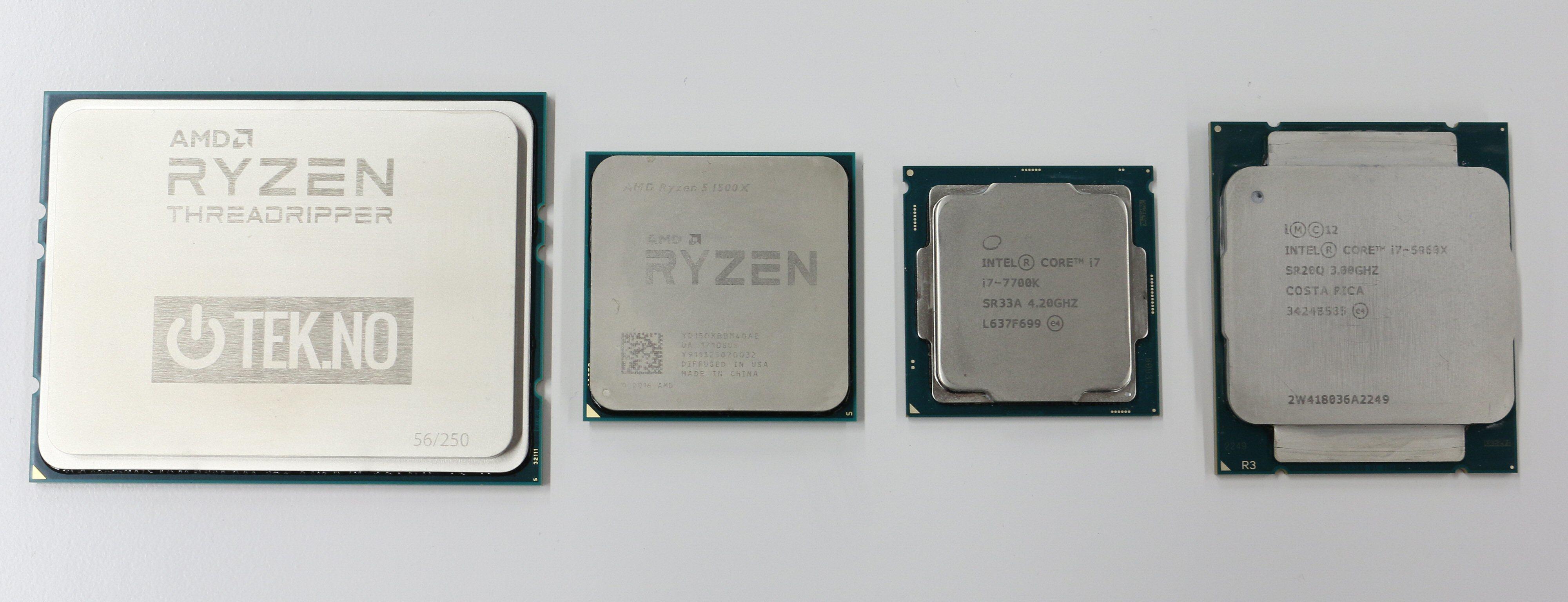 Forskjeller i størrelse. fra venstre: AMD Ryzen Threadripper, AMD Ryzen, Intel Kaby Lake, Intel Haswell-E.