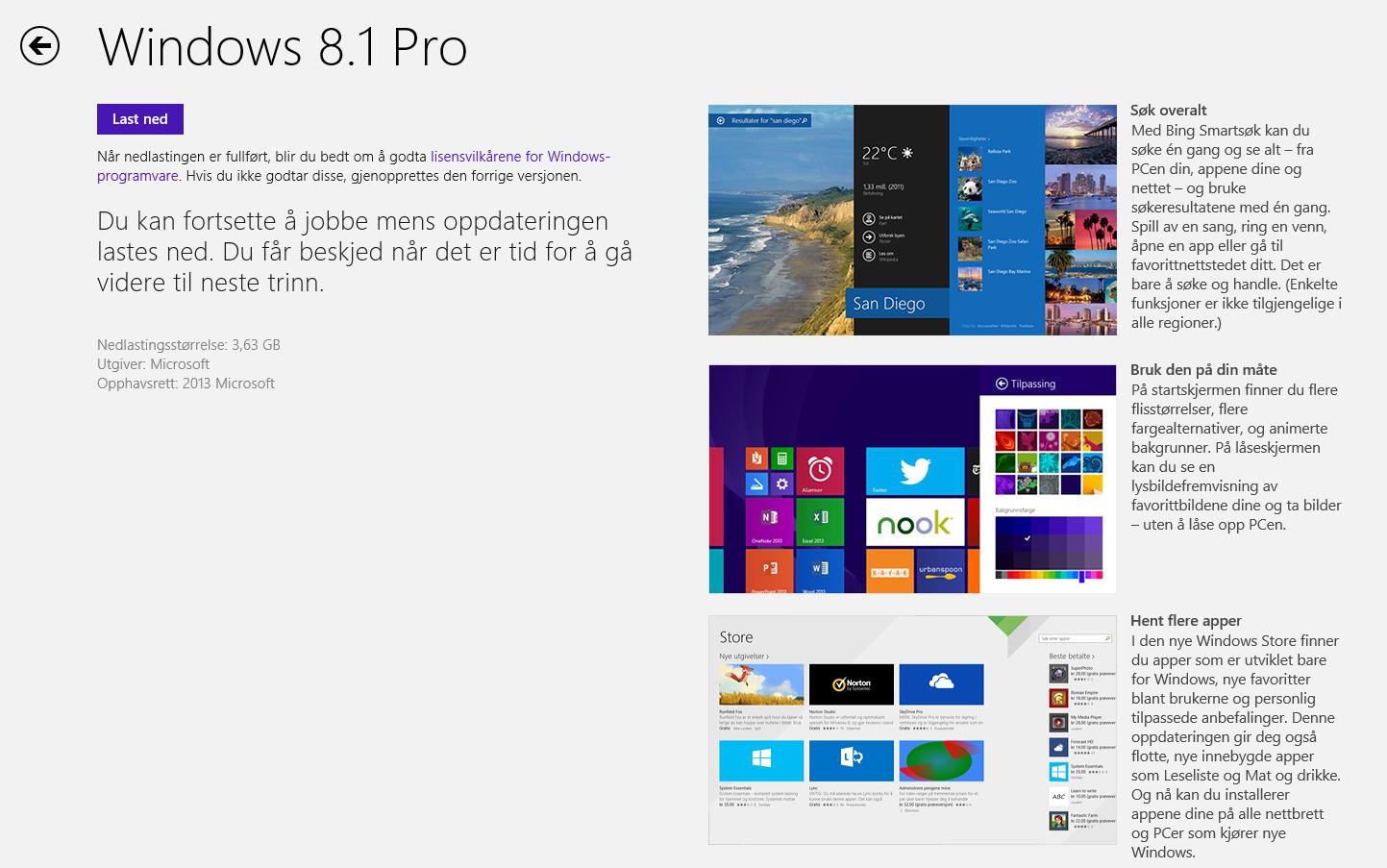 Windows 8.1 kan nå hentes ned fra Windows Store om du har Windows 8. Foto: Microsoft