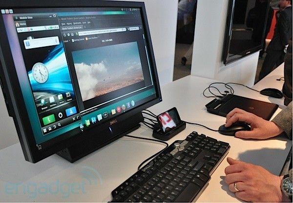 Atrix tilkoblet en PC-skjerm