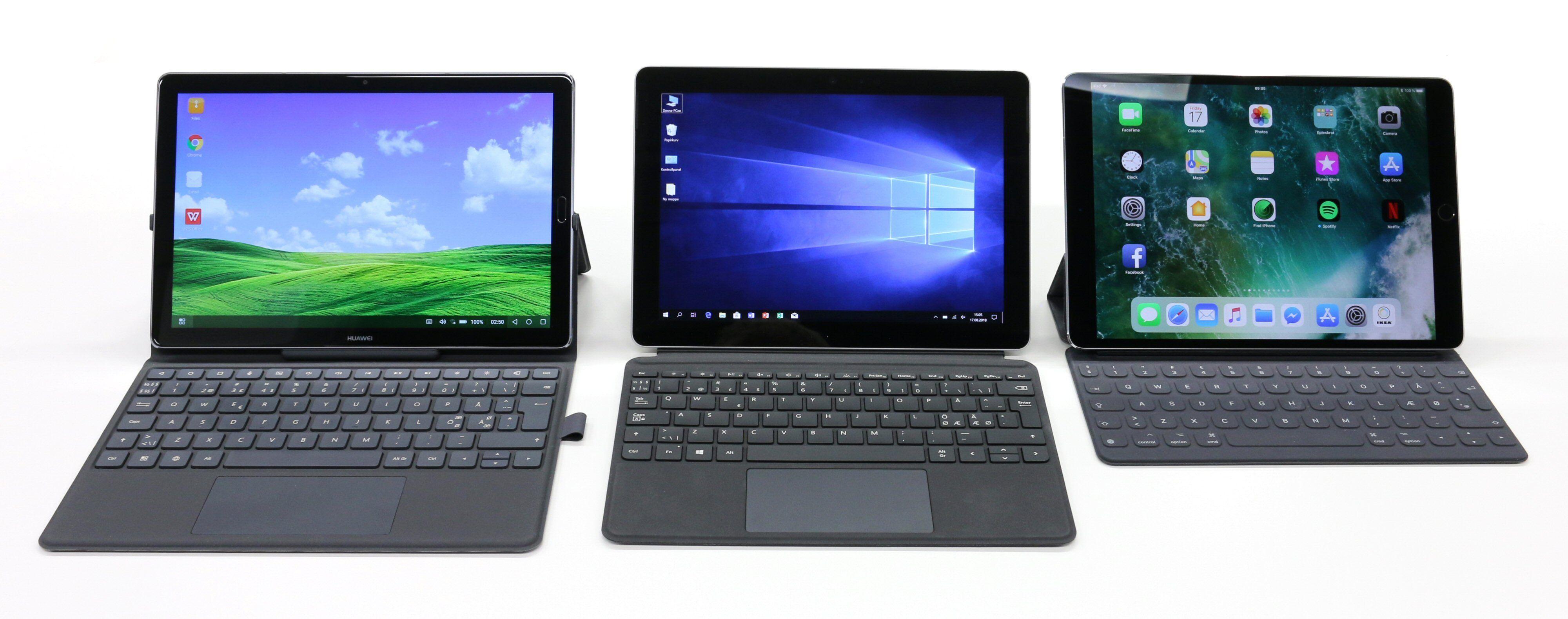 Surface Go i midten og to nettbrett-alternativ: Huawei MediaPad M5 med Android til venstre og Apple iPad Pro 10.5 med iOS til høyre.