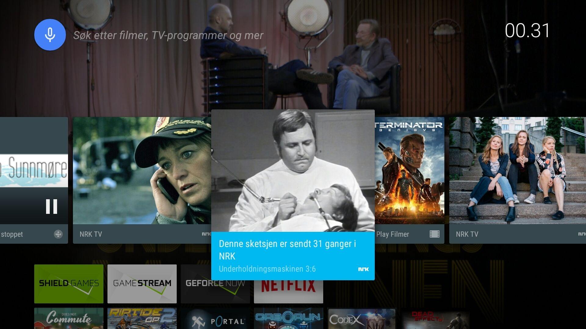 Android på TV er i hovedsak Googles design. Her ser vi også at NRK-appen dytter ut lenker direkte til interessant innhold. Foto: Finn Jarle Kvalheim, Tek.no