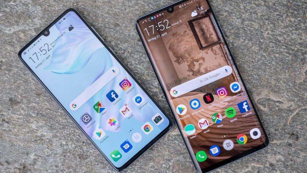 Disse mobilene kjører Android 9, ikke den nye Android 11-betaen som nå er tilgjengelig.