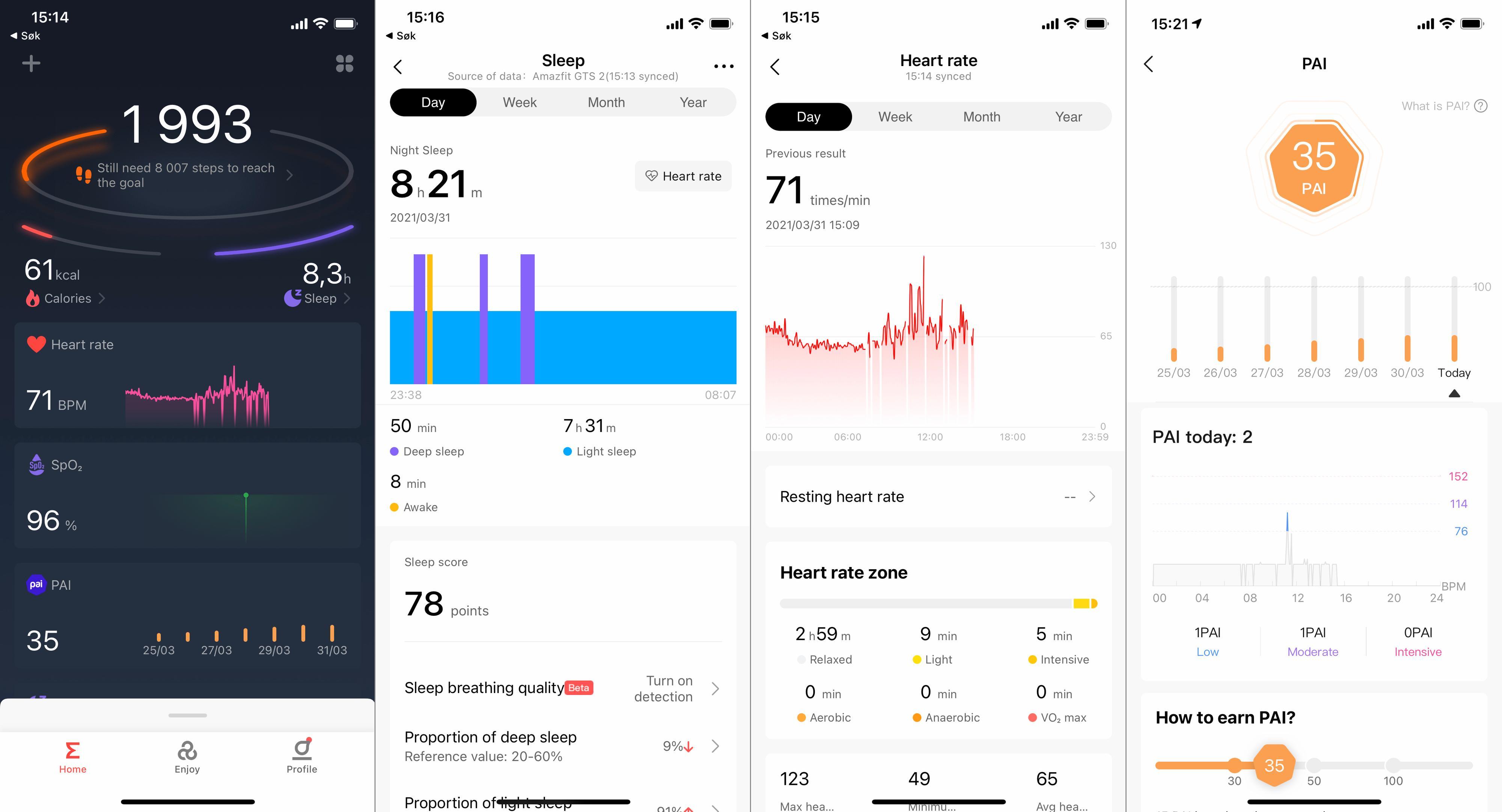 Zepp-appen er stort sett oversiktlig, med skjermbilder for det aller meste du kan lure på...