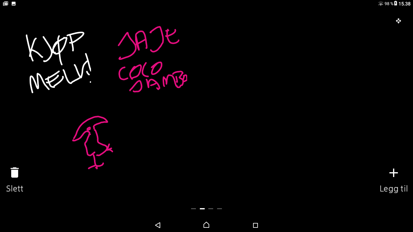 Det er ikke rare greiene Sony har gjort med Xperia-programvaren sin for å hente ut nyttepotensialet i Xperia Touch. Dette er blant det lille som skiller seg fra menyene på mobil; en slags digital korktavle.