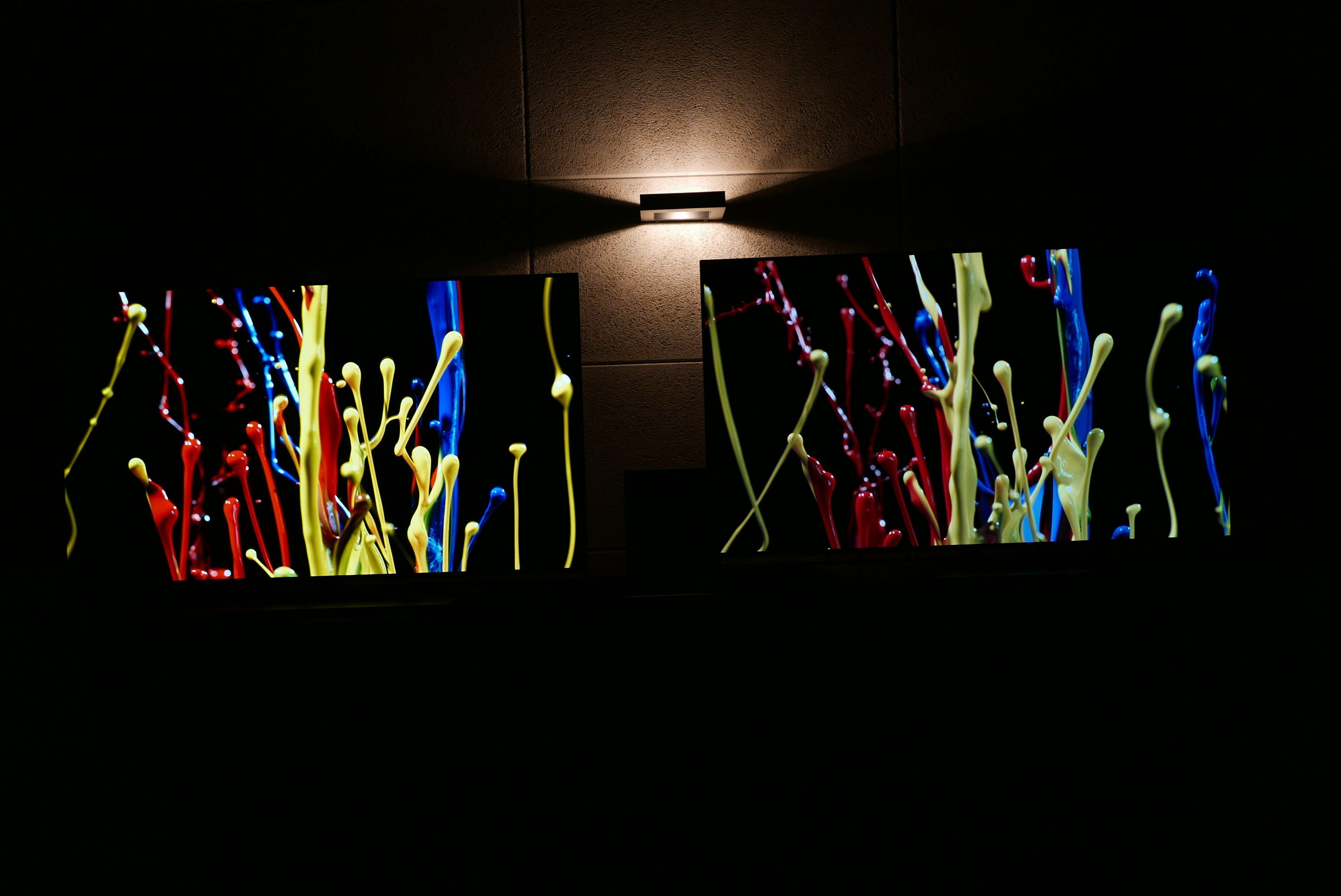 Utvidet fargerom gir langt bedre farger. Her ser du en OLED med utvidet spekter og HDR til venstre. Foto: Ole Henrik Johansen / Tek.no