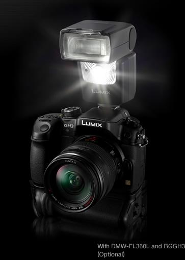 Den nye blitsen DMW-FL360L og DMC-GH3.Foto: panasonic.com