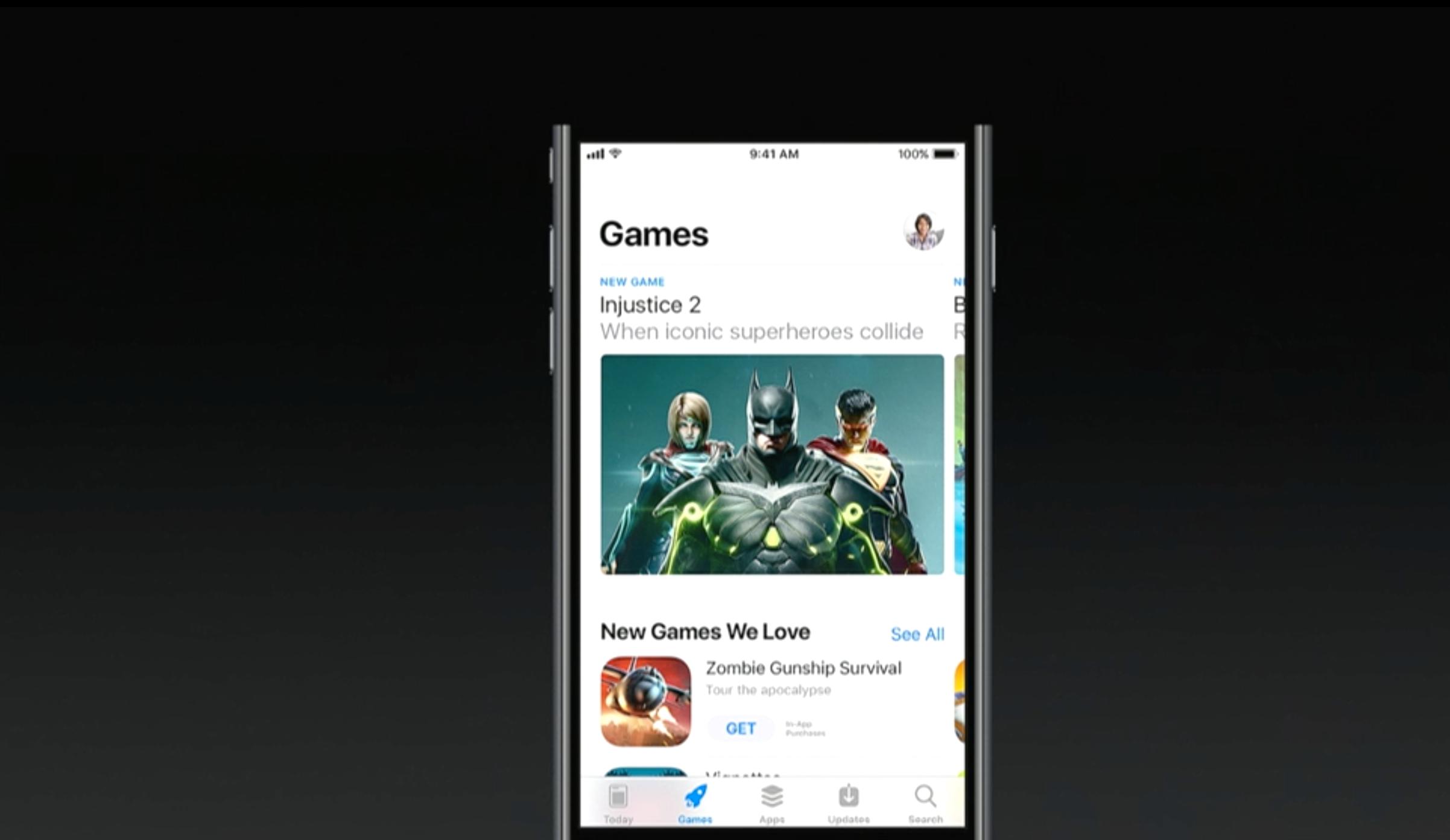 Nye faner i App Store, her spill, som blir liggende separat fra andre apper.
